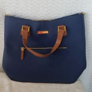 NWOT Joy & Iman blue and tan leather purse
